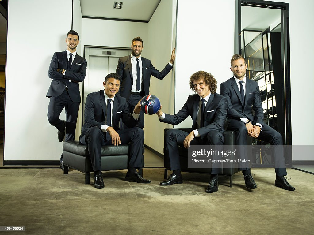 Footballers Javier Pastore, Thiago Silva, Salvatore Sirigu, David Luiz and Yohan Cabaye are photographed for Paris Match on August 28, 2014 in Paris, France.