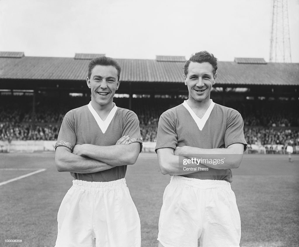 Footballers Jimmy Greaves (left) and Jim Lewis of Chelsea FC, 1957.