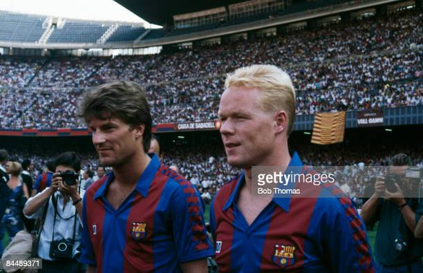 Footballers Michael Laudrup and Ronald Koeman of FC Barcelona, circa 1990.