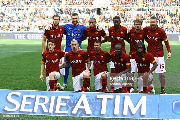 Footballers of AS Roma poses prior to the Serie A match between AS Roma and Parma FC at Stadio Olimpico in Rome Italy on February 15 2015