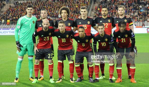 Footballers of Belgium pose for a photo before the FIFA 2018 World Cup Qualifier soccer match between Belgium and Greek Cypriot national team at the...