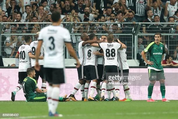 Footballers of Besiktas celebrate after scoring a goal during the Turkish Super Lig soccer match between Besiktas JK and Bursaspor at Vodafone Park...