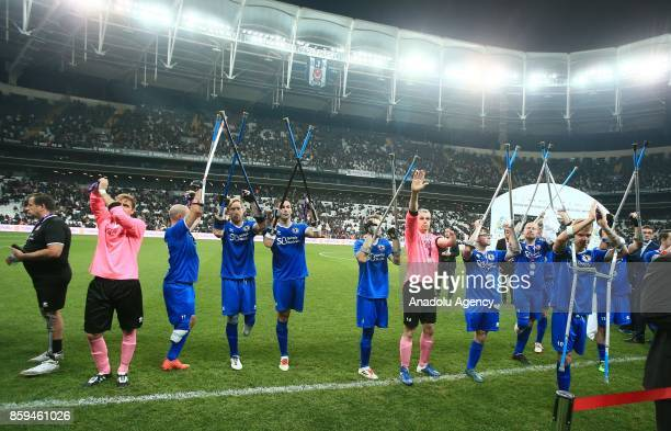 Footballers of England greet the supporters after the European Amputee Football Federation European Championship final match between Turkey and...