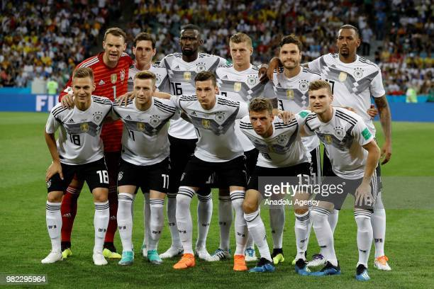 Footballers of Germany pose for a photo during the 2018 FIFA World Cup Russia Group F match between Germany and Sweden at the Fisht Stadium in Sochi...