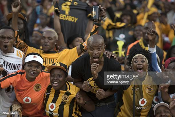 Footballers of Kaiser Chiefs celebrate their victory at the end of the 2016 Carling Black Label Cup between Kaizer Chiefs FC and Orlando Pirates at...