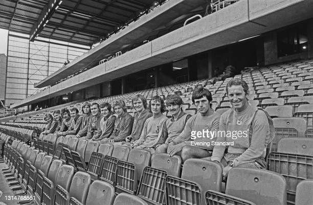 Footballers of League Division One team Chelsea FC, seated in the new East Stand at Stamford Bridge in London, at the start of the 1974-75 football...