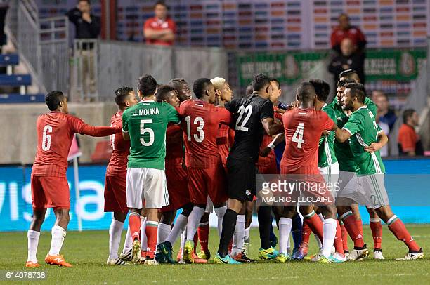 Footballers of Mexico argue with footballers of Panama during the friendly football match between the Mexican national team and the Panama national...