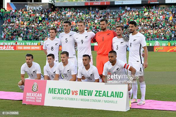 Footballers of New Zeland pose for the photographers before starts the macth against Mexico during the friendly match between the Mexican national...