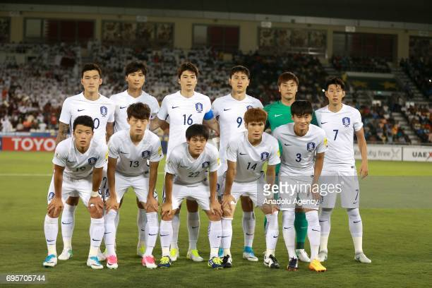 Footballers of South Korea National Soccer Team pose for a photo before the 2018 FIFA World Cup Asian Qualifying group A football match between Qatar...