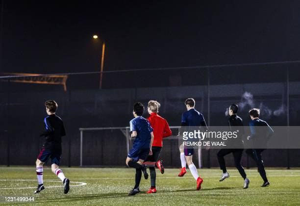 Footballers of the FC Purmerend attend a training session as the age required for outdoor sports in a team has been leveled up to 27 years, in...