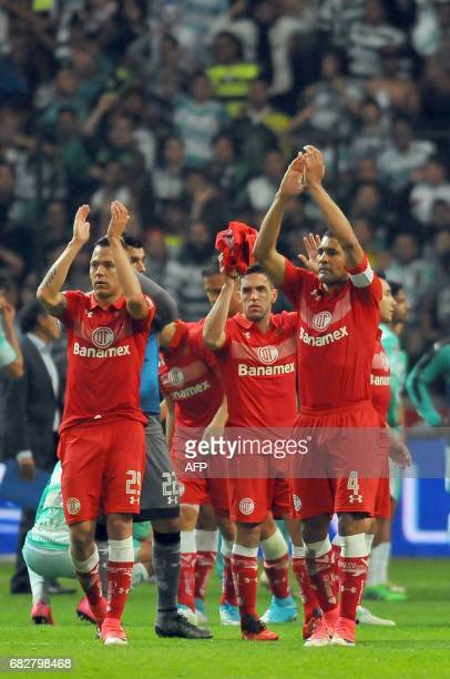 Footballers of Toluca celebrate the win of the match against Santos during the second leg of quarterfinal of Mexican Clausura 2017 Tournament...