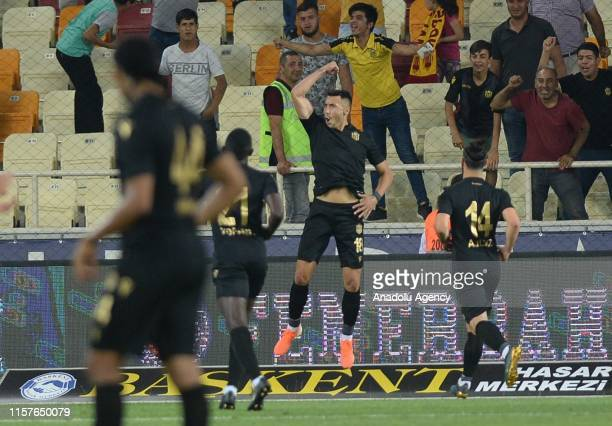 Footballers of Yeni Malatyaspor celebrate after a goal during the UEFA Europa League second qualifying match between Yeni Malatyaspor and Olimpija...