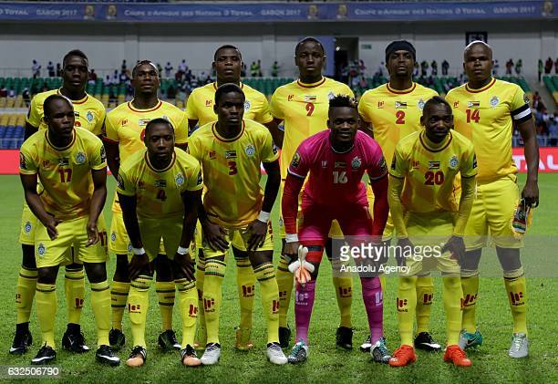 Footballers of Zimbabwe pose for a photograph ahead the 2017 Africa Cup of Nations group A football match between Zimbabwe and Tunisia at the...