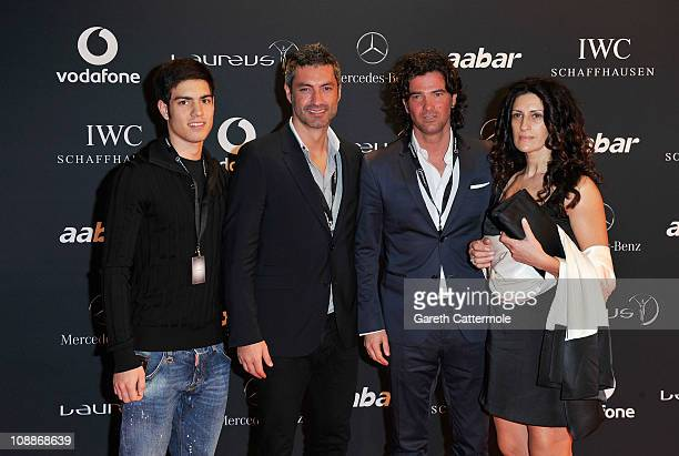 Footballers Vitor Baia and Fernando Couto and guests arrive for the Laureus Welcome Party as part of the 2011 Laureus World Sports Awards at Cipriani...