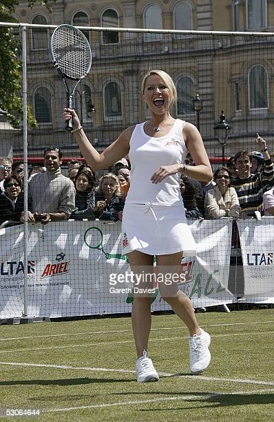 Footballers Wives Zoe Lucker attends the Ariel Tennis Ace which aimed to find Britain's next young tennis star in Trafalgar Square on June 13 2005 in...