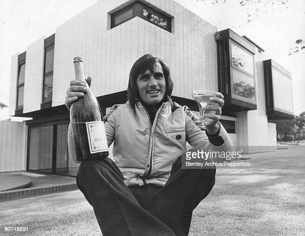 FootballGeorge Best holds a bottle of champagne as he prepares for a party to celebrate the sale of his house in Cheshire September 1972