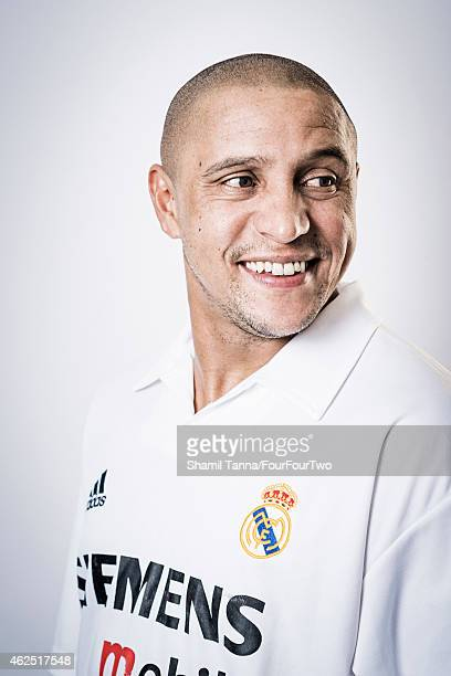Footballing legend Roberto Carlos is photographed for FourFourTwo magazine on January 30 2013 in London England