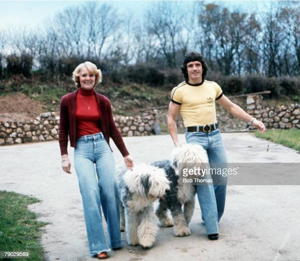 FootballKevin Keegan and his wife Jean pictured walking their two pet sheepdogs 1970's