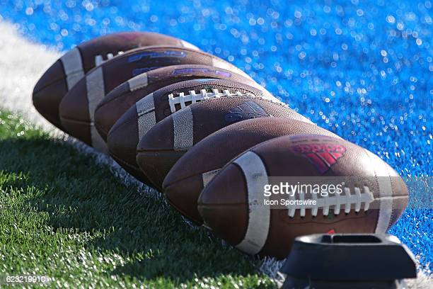 Footballs are lined up on the goal line before a Big 12 contest between the Iowa State Cyclones and Kansas Jayhawks on November 12 2016 at Kivisto...