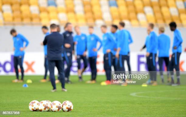 footballs during their training session on October 18 2017 in Luhansk Ukraine