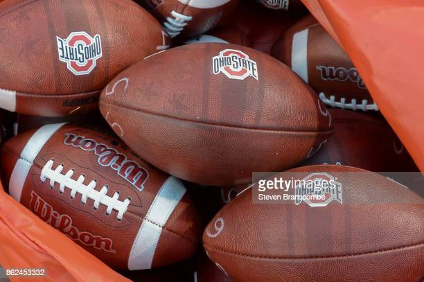 Footballs for the Ohio State Buckeyes before the game against the Nebraska Cornhuskers at Memorial Stadium on October 14 2017 in Lincoln Nebraska