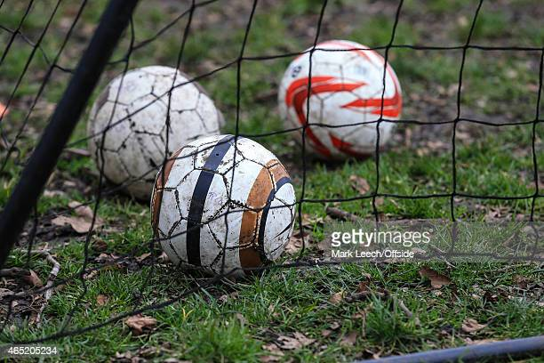 Footballs lay among fallen leaves in the goalmouth on an amateur football pitch during the Sky Bet Championship match between Fulham and Derby County...