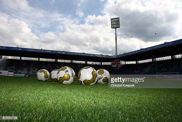 Footballs on the pitch before the Bundesliga match between VfL Bochum and VfL Wolfsburg at the rewirpower stadium on August 24 2008 in Bochum Germany