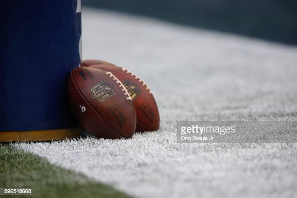 Footballs rest against the goalpost prior to the game between the Seattle Seahawks and the Los Angeles Rams at CenturyLink Field on December 17 2017...
