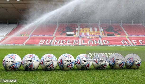 Footballs sit on the pitch before the Sky Bet League One match between Sunderland and Fleetwood Town at Stadium of Light on September 8 2018 in...