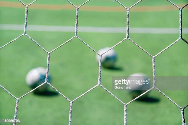 Footballs soccer balls detail