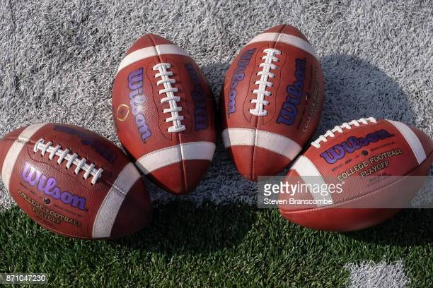 Footballs used by the Northwestern Wildcats before the game against the Nebraska Cornhuskers at Memorial Stadium on November 4 2017 in Lincoln...