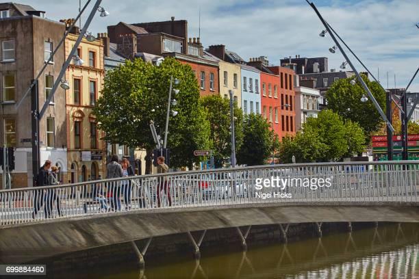 A footbridge across the River Lee south channel, in downtown Cork, Ireland.