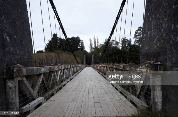 footbridge against clear sky - invercargill stock pictures, royalty-free photos & images