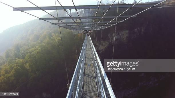 Footbridge Against Mountain At Forest