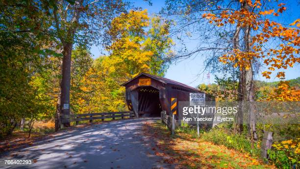 footbridge amidst trees against sky during autumn - covered bridge stock photos and pictures
