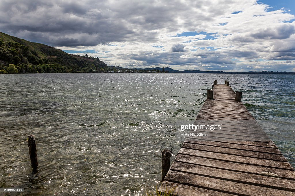 footbridge on the lake : Stock Photo