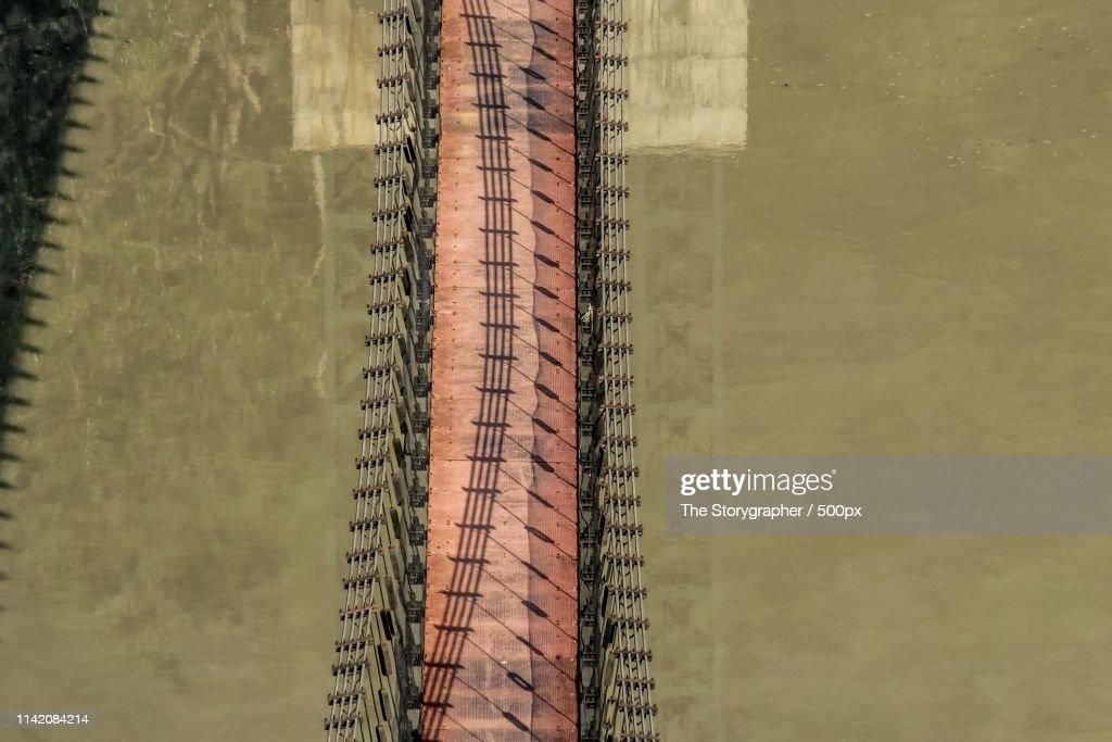 A Footbridge On The River Ganga : Stock Photo
