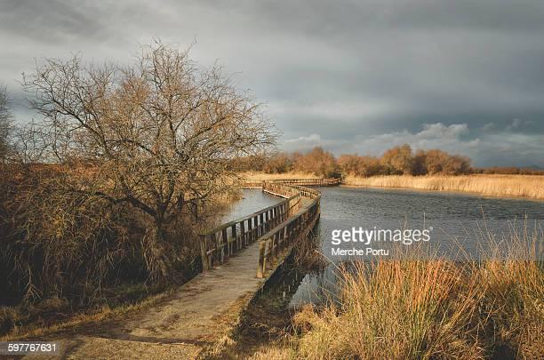 Footbridge over lagoon