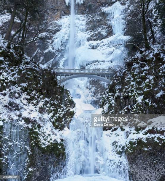 footbridge over multnomah falls in winter, columbia river gorge national scenic area, oregon, usa - multnomah falls stock pictures, royalty-free photos & images