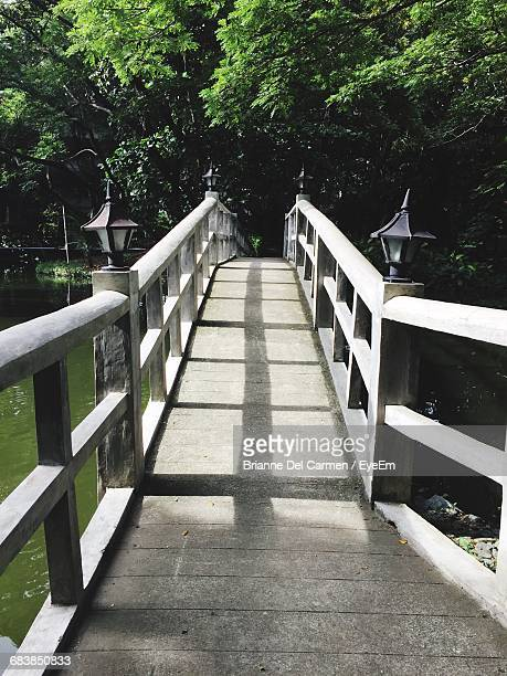footbridge over river at park - brianne stock pictures, royalty-free photos & images