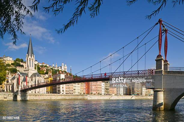 Footbridge over Saone River in Lyon