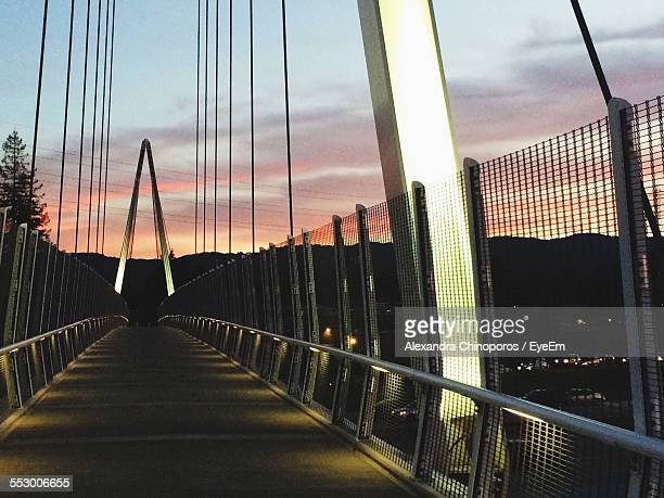 footbridge over silicon valley during sunset - silicon valley stock pictures, royalty-free photos & images