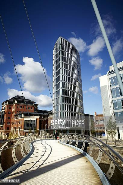 A footbridge over the water at Temple Quay in Bristol's Central Business District