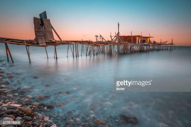 Footbridge sea beach sunset
