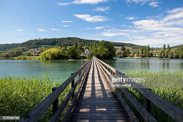 Footbridge to Werd island near Stein am Rhein, Lake Constance, Switzerland, Europe, PublicGround