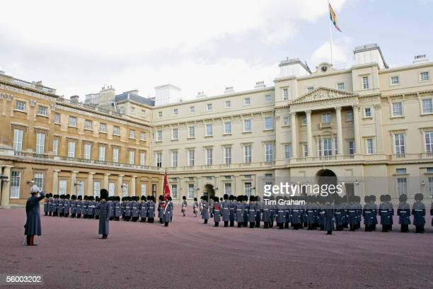 Footguards of the Household Division in bearskin hats and grey coats at Buckingham Palace await the arrival of the Norwegian Royal Family on October...