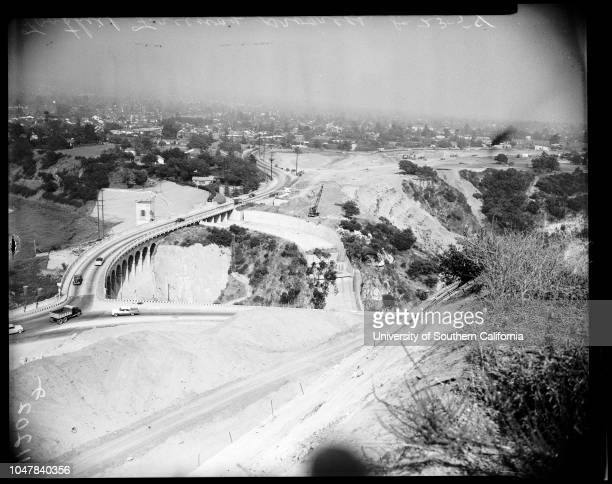 Foothill freeway progress, 23 August 1954. Between La Canada and Pasadena;from Hill across boulevard from Devil's Gate Dam -- Arroyo Seco...
