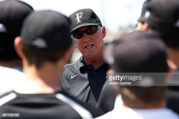ANA CA WEDNESDAY MAY 14 2014 Foothill High School Baseball coach Vince Brown talks with players during a practice at the Foothill baseball field