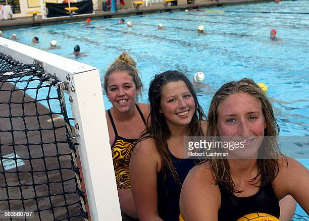 Foothill High School water polo players Katy Krumpholz Grace Reynolds and Jillian Kraus are photographed at next to the pool on campus