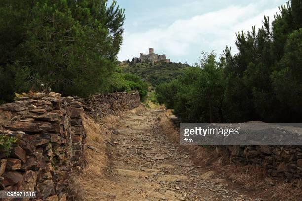 foothpath to the fort saint elne (languedoc-rourssillon, france) - pyrénées photos et images de collection
